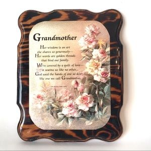 Grandmother Plaque Lacquered Wood 10x8